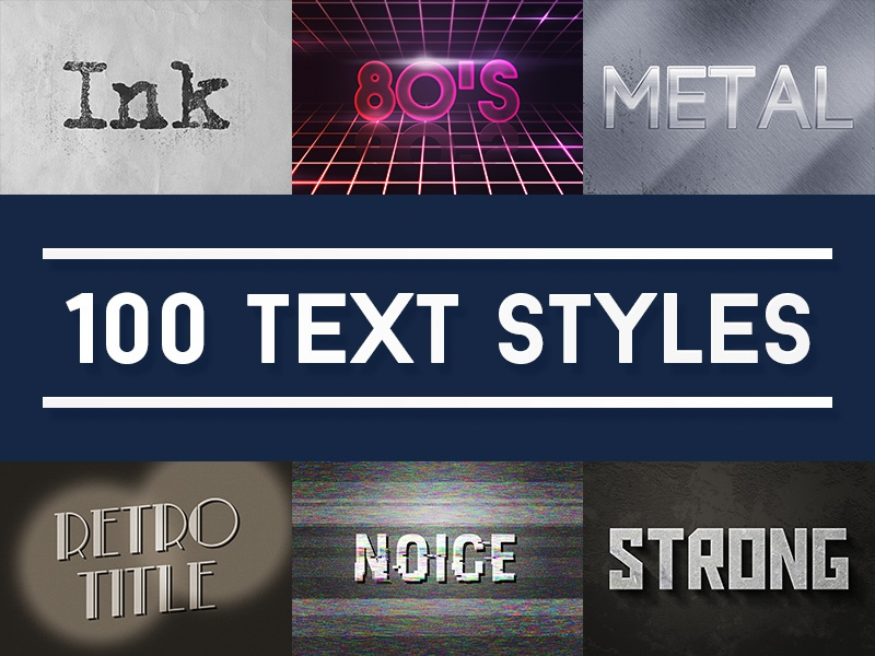 100 Text Effects for Photoshop title retro metal 80s smart object style psd effects