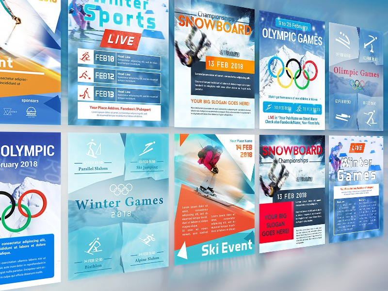 Winter Sports 2018 Flyers korea winter games cmyk psd print template snowboardmflyer ski