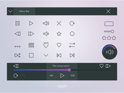 Media Player Icons Set ux vector bar audio play ui icon player