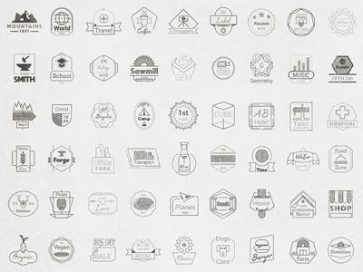 72 Vector Badges Set