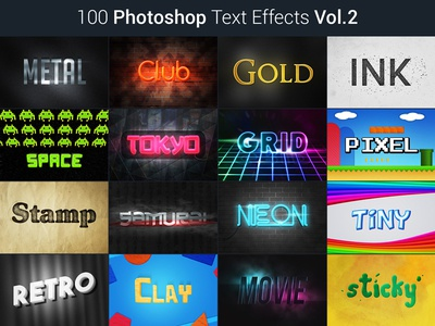 100 Photoshop Text Effects Vol.2 title slogan neon effect text style photoshop