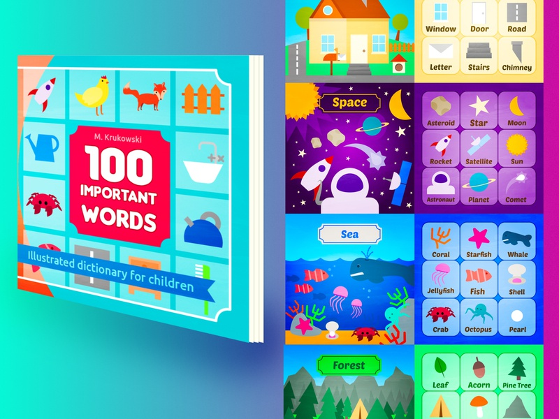 100 Important Words: Illustrated Dictionary for Children childrens book education school words vocabulary vector illustration kids illustration book illustration