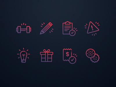 Icon set for fitness website cookies weight barbell vector graphics purple pink gradient fitness website fitness icon set icon