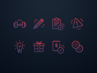 Icon set for fitness website