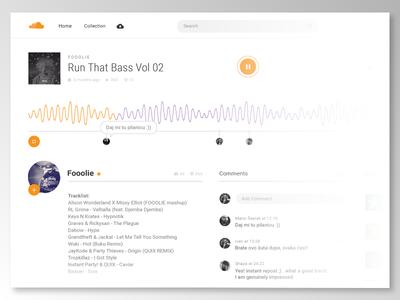 UI Challenge Week 7 - Soundcloud challenge. redesign minimal soundcloud ui challenge