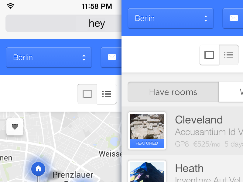Moar mobile! hey iphone ios mobile phone responsive clean blue map list berlin
