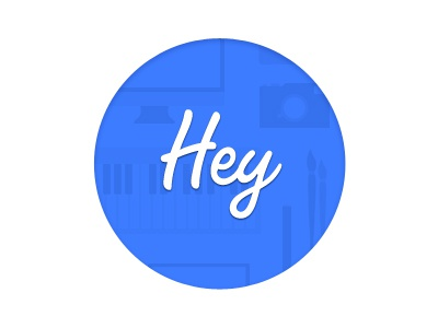 Hey! hey.im hey coming soon teaser blue circle typography vector icons tiled keyboard pencil imac hello minimalistic paintbrush css computer laptop