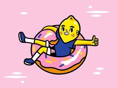 Floating Lemon character donut lemonade fruit pink vector illustration vector art vector graphic design illustration affinity designer lemon