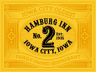 Iowa City Restaurant Signage linework line graphic design illustration logo affinity designer branding vintage logo vintage design vintage engrave engraving yellow restaurant iowa city iowa signage