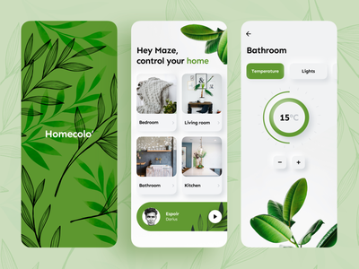 Homecolo 🌱 player temperature home smart smarthome green app mobile minimalism application vector color branding ux ui design