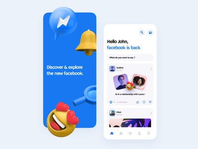 facebook concept 😍 3d facebook social app mobile typography minimalism application color branding ui ux design