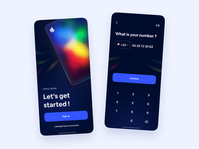 Apple bank - Daily UI 01 blue dark blur mobile ios fintech neobank gradient rainbow glassmorphism branding apple color minimalism application ux ui design