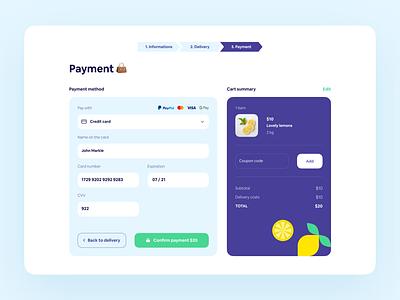 Checkout - Daily UI 🍋 shop ecommerce illustration purple blue lemon webapp creditcard checkout minimalism ux ui design