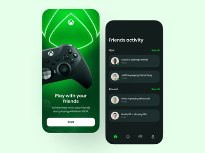 Xbox app tabbar neon background blur game gameplay gamer xbox mobile vector green minimalism branding design ux ui