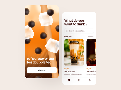 Bubble tea 🥤 android ios application vector color design app minimalism branding mobile illustration food illustration food bubbletea shop ux ui