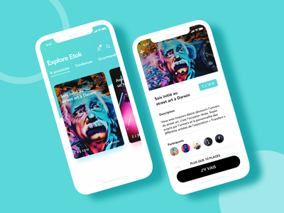 Etok Dribbble photos design ui ios color art culture event application mobile ux