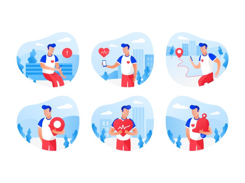 SauvLife illustrations 💙 color vector ui illustration design