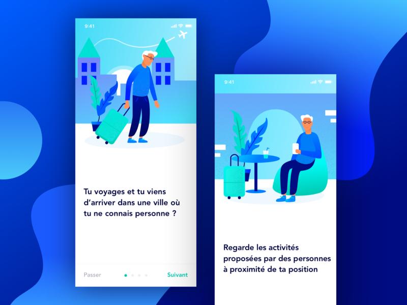The traveler blue branding mobile color vector art illustration minimalism application design ui ux