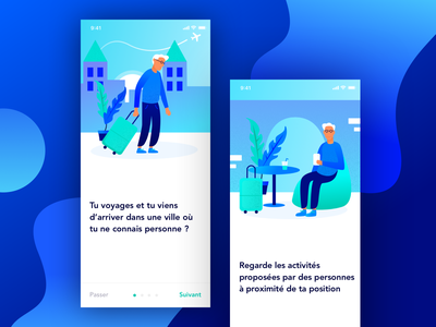 The traveler blue branding mobile color vector art illustration minimalism application design ui ux