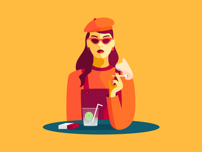 The parisian girl 💁🏻 yellow minimalism vector design ui illustration color