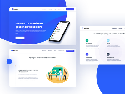 Sesame school education branding color blue illustration web application minimalism vector ui ux design landing-page