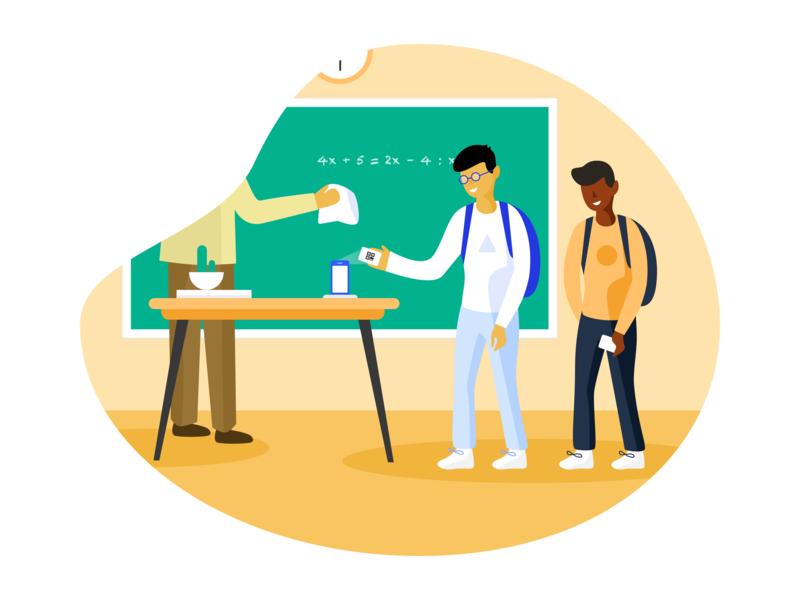 Sesame : the register of students has never been easier school education branding minimalism art vector color illustration design ui