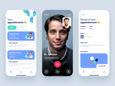 #3 The Cacatoès Theory blue medicine medical mobile vector color ux application minimalism branding ui design