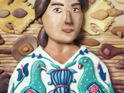Maria Vyasmitina portrait experiment clay retoush pattern portrait illustration modelling clay plastillustration plasticine