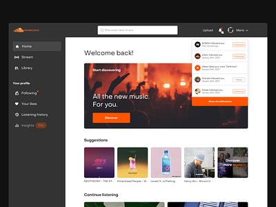 Soundcloud redesign music player audio dark ui browser web app desktop music soundcloud