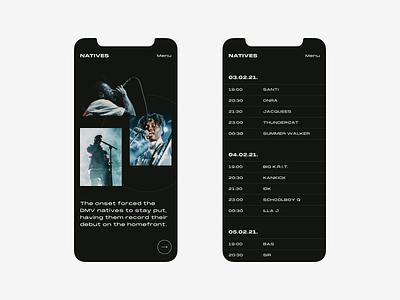 Festival event timeline dark ui concert iphone mobile responsive design music festival