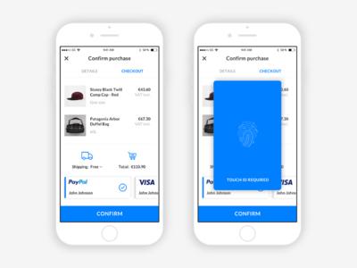 eCommerce App | Checkout & Fingerprint Screen