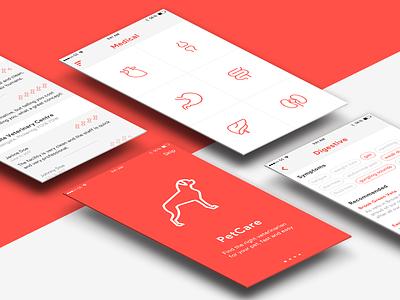 PetCare App mobile ui ux design clean white app pet iphone ios simple dog
