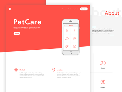PetCare App | Product Website app clean dog ios iphone mobile pet ui ux white website product
