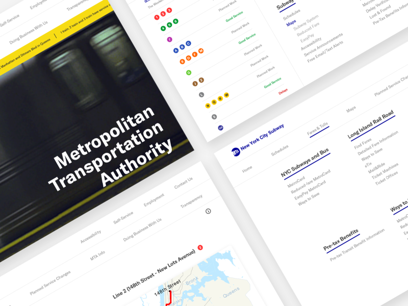 MTA | 4 Pages white new york presentation mta navigation ux subway metro redesign website ui clean