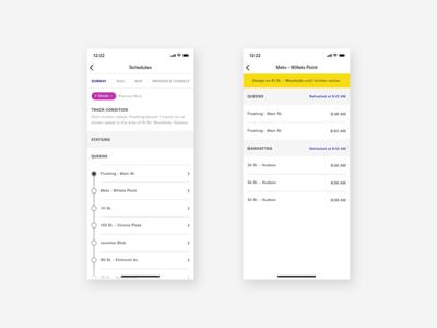 MTA App | Schedules Screens