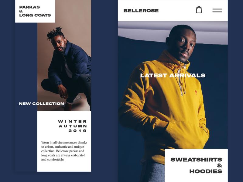 Bellerose | Homepage shop clean safari mobile ecommerce webshop fashion responsive ui website web homepage