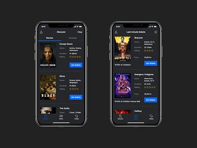 Cinema App movies clean theatre dark ui booking reservation tickets cinema mobile iphone ios app
