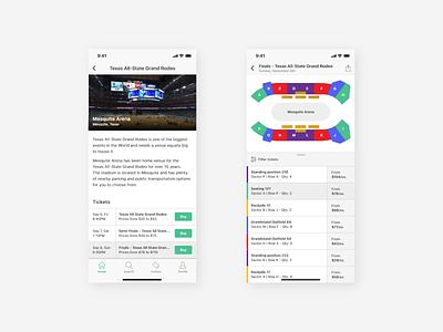 Stadium App | Event Screens sports filter clean mobile tickets event arena stadium iphone ios app