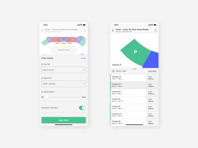 Stadium App | Filter & Results Screens