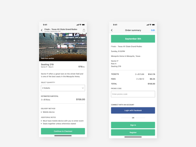 Stadium App | Order Summary Screens clean order summary checkout sports stadium iphone ios mobile tickets event arena app
