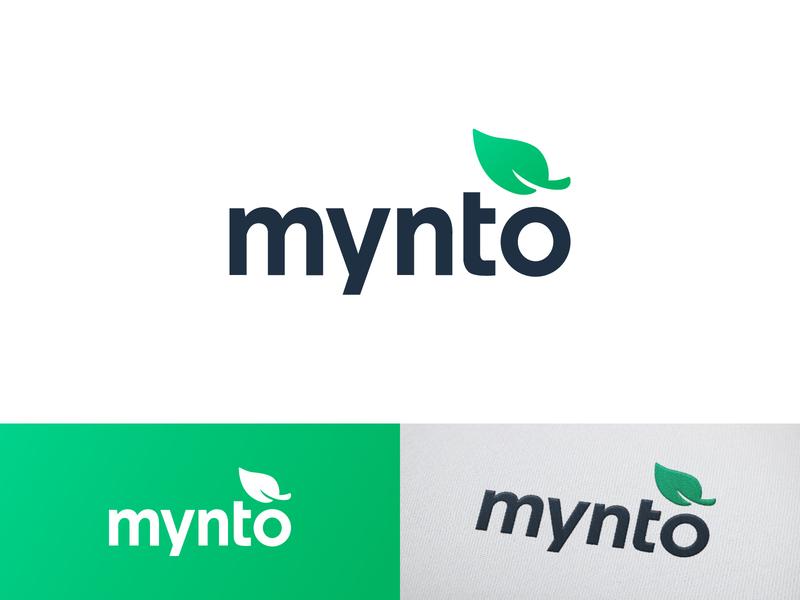 Mynto Logo logo design leaf logo