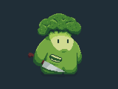 Brocco Lee pixel-art broccoli food character art game