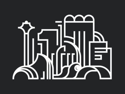 Cityscape white black buildings city lines