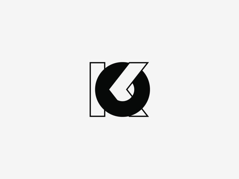 KO monogram typography o k black letters monogram