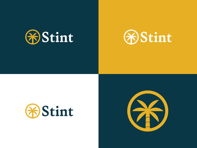 Unused Logo Concepts mark logo design lockup variant color palette palm tree hourglass stint design vector logo branding