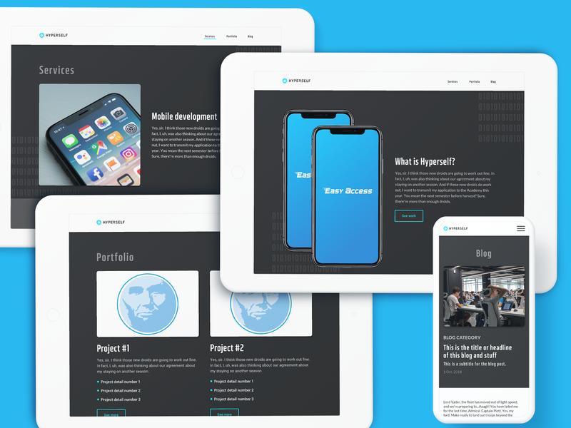 Hyperself Portfolio Screens mobile app development developer desktop mobile responsive portfolio web design