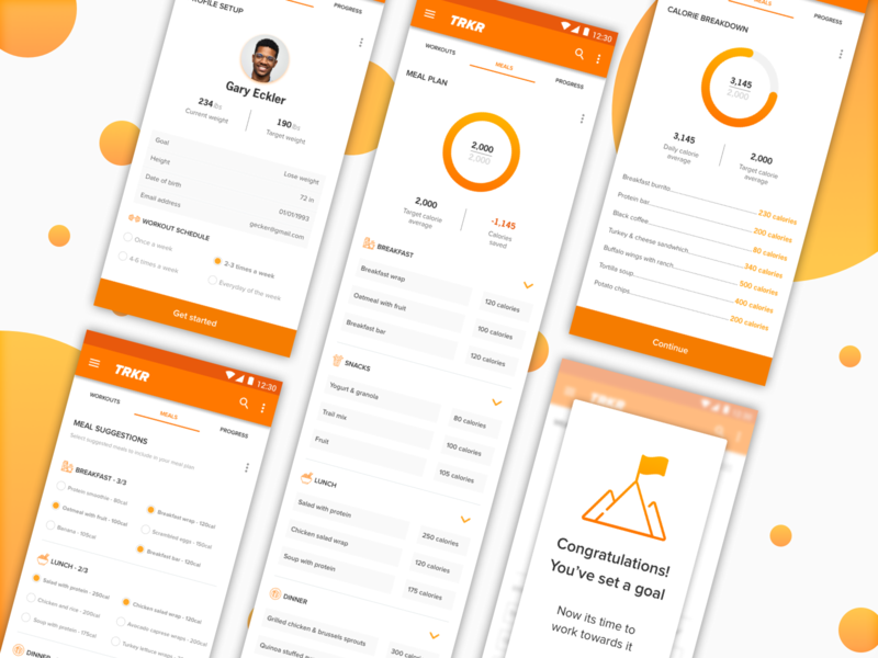 TRKR App mobile app ui ux workout tracker food tracker weight loss android mobile design mobile product app design product design