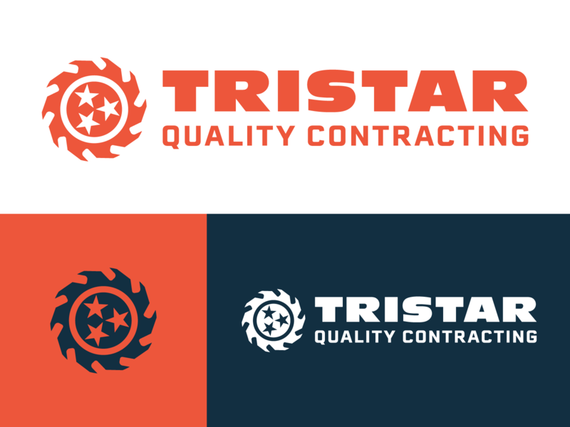 Tristar Quality Contracting saw star tristar label identity branding brand logo hardware tennessee mark icon contracting logo design nashville