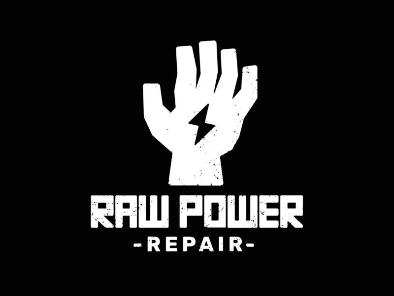 Raw Power Repair Logo branding texture lightning bolt lightning identity brand repair hand logo power