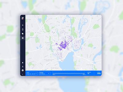 Citation Density Feature feature platform client portal dashboard density ui slider mapbox map mapping enforcement passport product